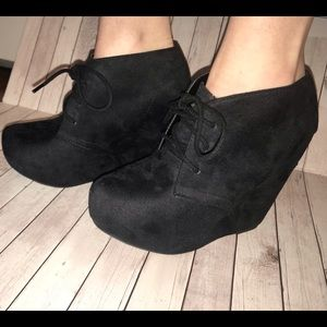 Women's Black Wedge Booties
